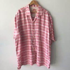 MEN's TOMMY BAHAMA Red Plaid Linen Shirt XXL